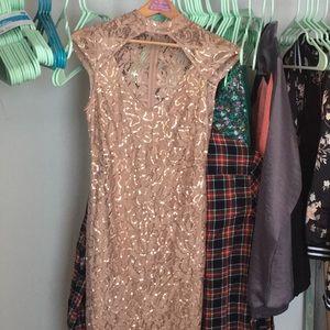 Cream Sequence Prom Dress.